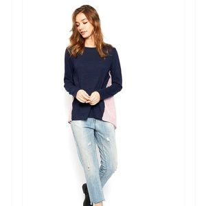 two tones long sleeves top blouse blue red S-L